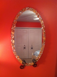 DIY: Jeweled Mirror #jewels #mirror #DIY #craft PoshRepurposing.com