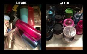 DIY: Travel Mug and Bottle Organizer #DIY #Craft #tumblers #coffee #mugs #waterbottle #organize PoshRepurposing.com