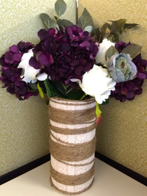 DIY: PVC Pipe Vase w/Twine and Lace #vase #PVCpipe #repurposing #DIY #lace #twine