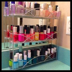 Repurposing: Nail Polish Rack #repurpose #DIY #nailpolish #organize #spicerack